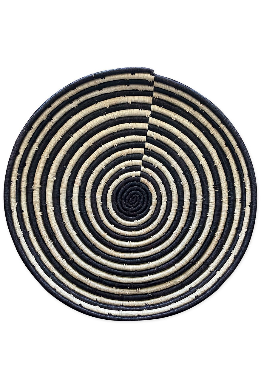 Large Woven Platter, Black and White Striped Design