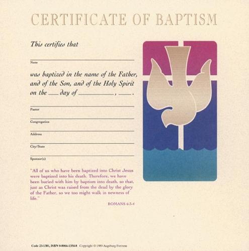 Certificate Baptism Cream