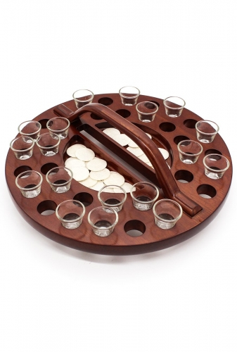 Communion Tray Round Wooden 34 Cup
