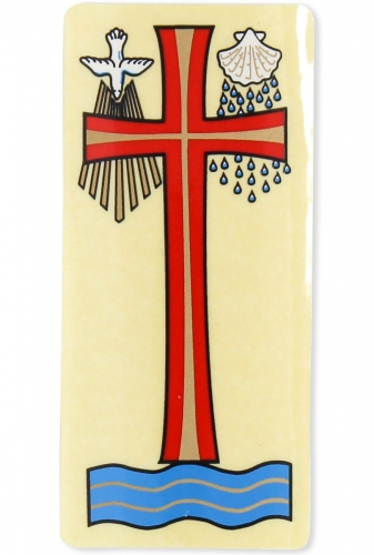 Sticker Holy Baptism Red Cross with Dove and Shell