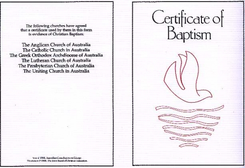 Baptism Certificate, Ecumenical Folded card