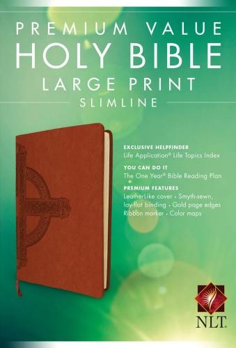 NLT Premium Value Slimline Bible Large Print, Brown/Tan TuTone