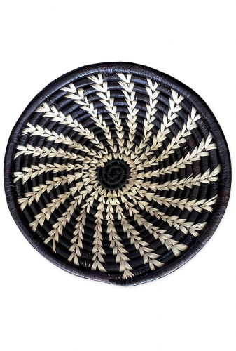 Small Woven Bowl, Black and White Feather Design