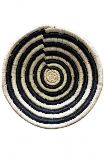 Small Woven Bowl, Black and White Striped Design