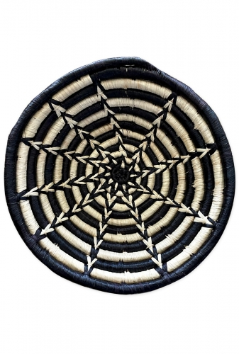 Small Woven Bowl, Black and White Star Design