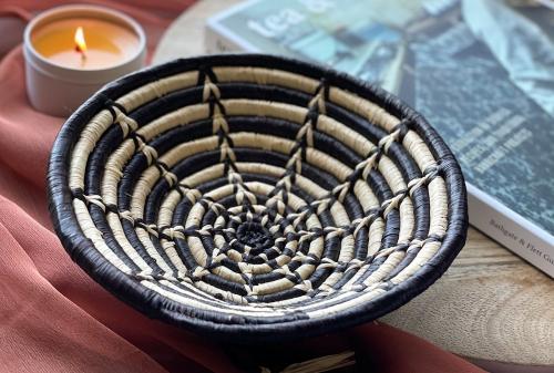 Small Woven Bowl, Black and White Star Design