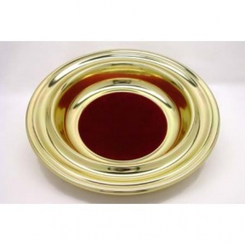 Offering Plate Brass Tone Red