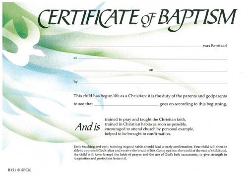 Certificate of Baptism SPCK