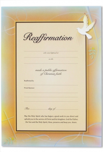 Reaffirmation Certificate