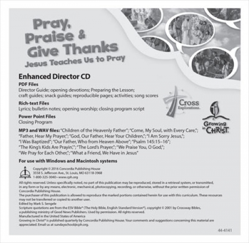 Pray, Praise and Give Thanks-  Enhanced Director CD