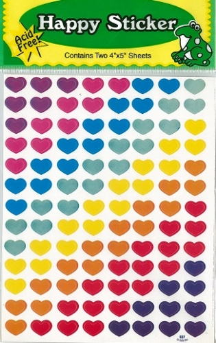 Happy Sticker Set of coloured hearts